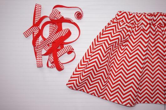 Одежда для девочек, ручной работы. Ярмарка Мастеров - ручная работа. Купить Юбочка из американского хлопка шевроны. Handmade. Ярко-красный