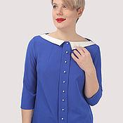 handmade. Livemaster - original item Blue blouse with a collar and pearl trim. Handmade.