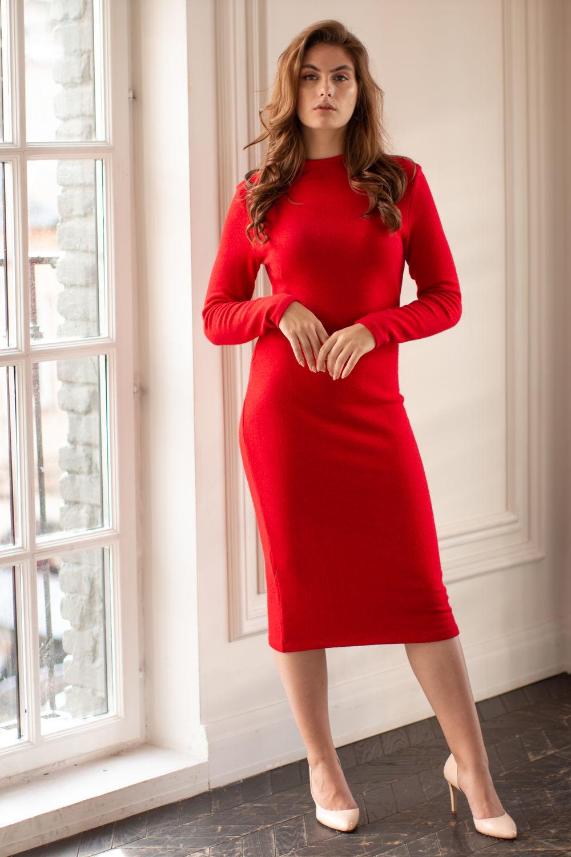 Красное платье из шерстяного трикотажа, Платья, Москва,  Фото №1
