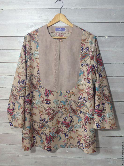 Блузки ручной работы. Ярмарка Мастеров - ручная работа. Купить Туника - блузка Бохо. Handmade. Кремовый, блузка, бохо