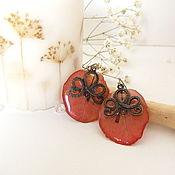 Украшения handmade. Livemaster - original item Earrings Petals Flower Vintage Burgundy Flower Resin Jewelry Eco. Handmade.