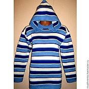 Одежда handmade. Livemaster - original item Knitted sweater striped hooded. Handmade.