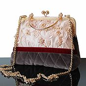Сумки и аксессуары handmade. Livemaster - original item Velvet handbag, vintage style handbag made of velvet, beige. Handmade.