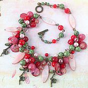"""""""Цветущий сад"""" колье из натуральных камней. Розовое колье, бусы."""