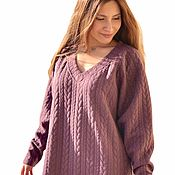 Одежда handmade. Livemaster - original item Dress warm winter long knitted with braids pink gray floor length. Handmade.