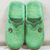 Обувь ручной работы handmade. Livemaster - original item Felted Slippers Green. Handmade.