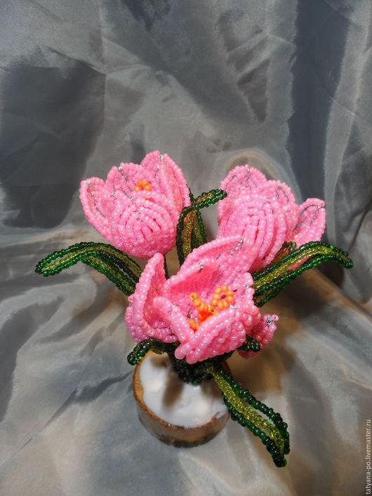 Цветы ручной работы. Ярмарка Мастеров - ручная работа. Купить Розовый крокус из бисера. Handmade. Комбинированный, крокус, бисерные цветы