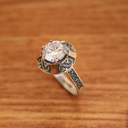 Кольца ручной работы. Ярмарка Мастеров - ручная работа. Купить Серебряное кольцо Антик с золотыми накладками, серебро 925. Handmade.
