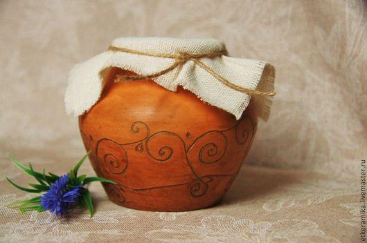 Посуда ручной работы. Ярмарка Мастеров - ручная работа. Купить крыночка. Handmade. Зеленый, молочный, красная глина, керамика