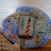 Посуда ручной работы. Ярмарка Мастеров - ручная работа Тарелка стеклянная  Рыба, моя.... Handmade.