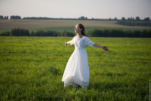 """Платья ручной работы. Ярмарка Мастеров - ручная работа. Купить Белое кружевное платье в винтажном стиле """"Полина"""". Handmade. Белый"""