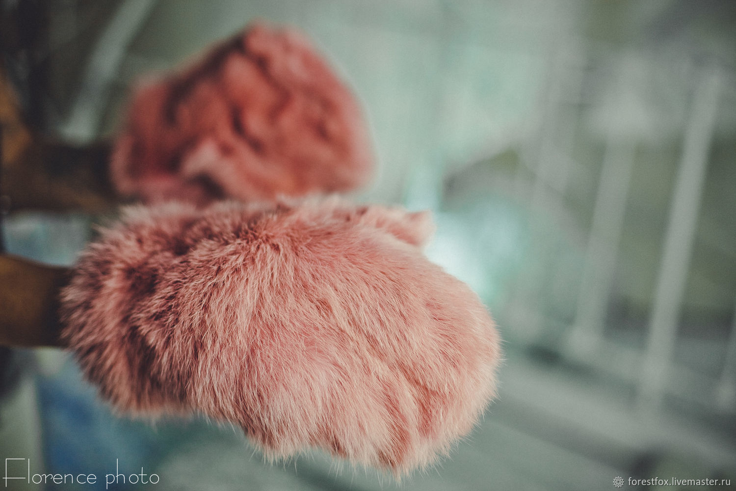 Rabbit fur mittens in pink, Mittens, Moscow,  Фото №1