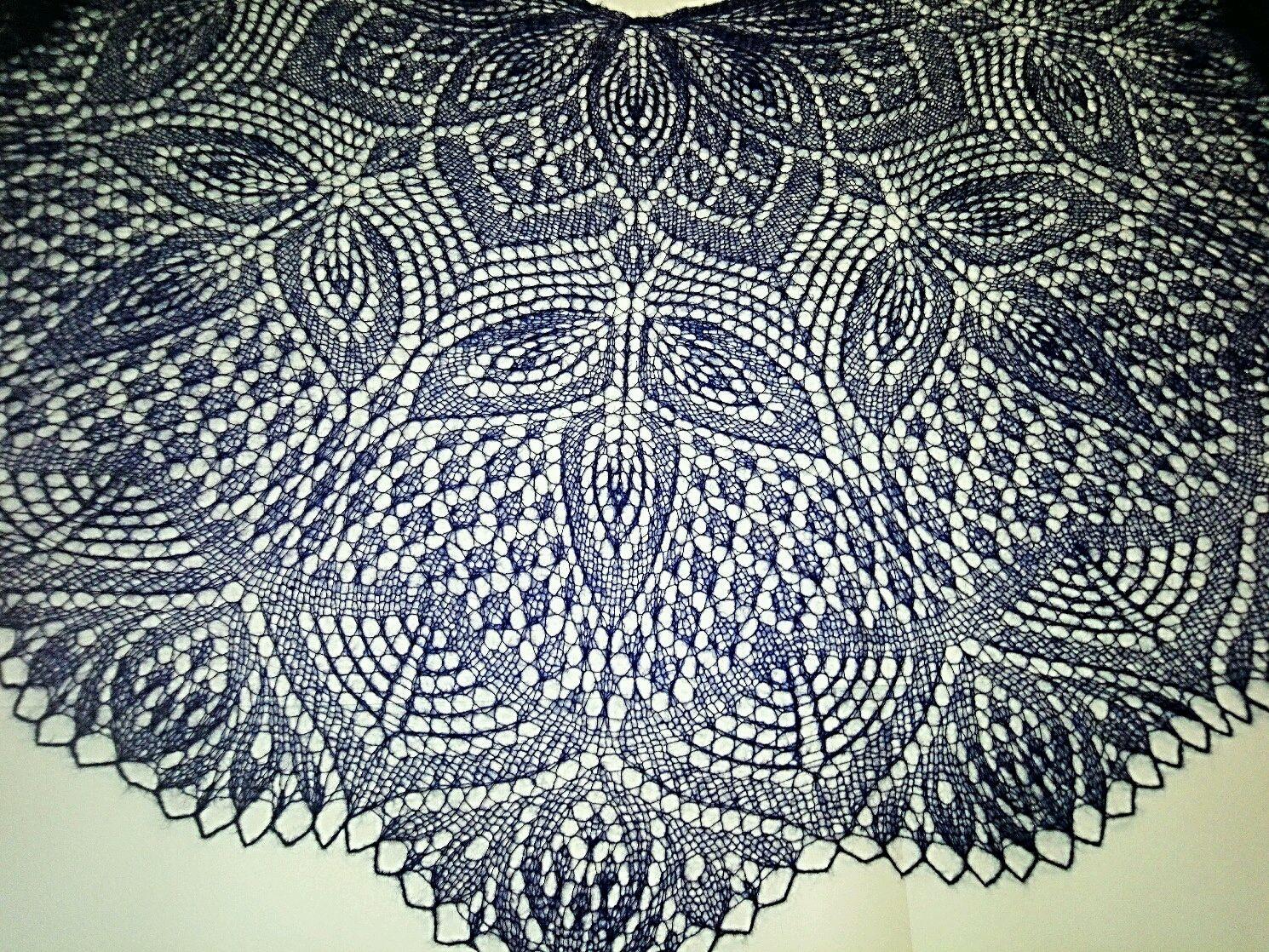 Шаль Клематис ,мохер на шёлке,тёмно синяя, Шали, Апатиты, Фото №1