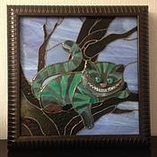 """Картины и панно ручной работы. Ярмарка Мастеров - ручная работа Панно """"Чеширский кот"""" тиффани, фьюзинг. Handmade."""