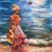 Картины и панно ручной работы. Ярмарка Мастеров - ручная работа Картина из шерсти Девушка у моря. Handmade.