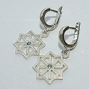 Русский стиль handmade. Livemaster - original item Molvintsy # №2 earrings (with a stone). Handmade.