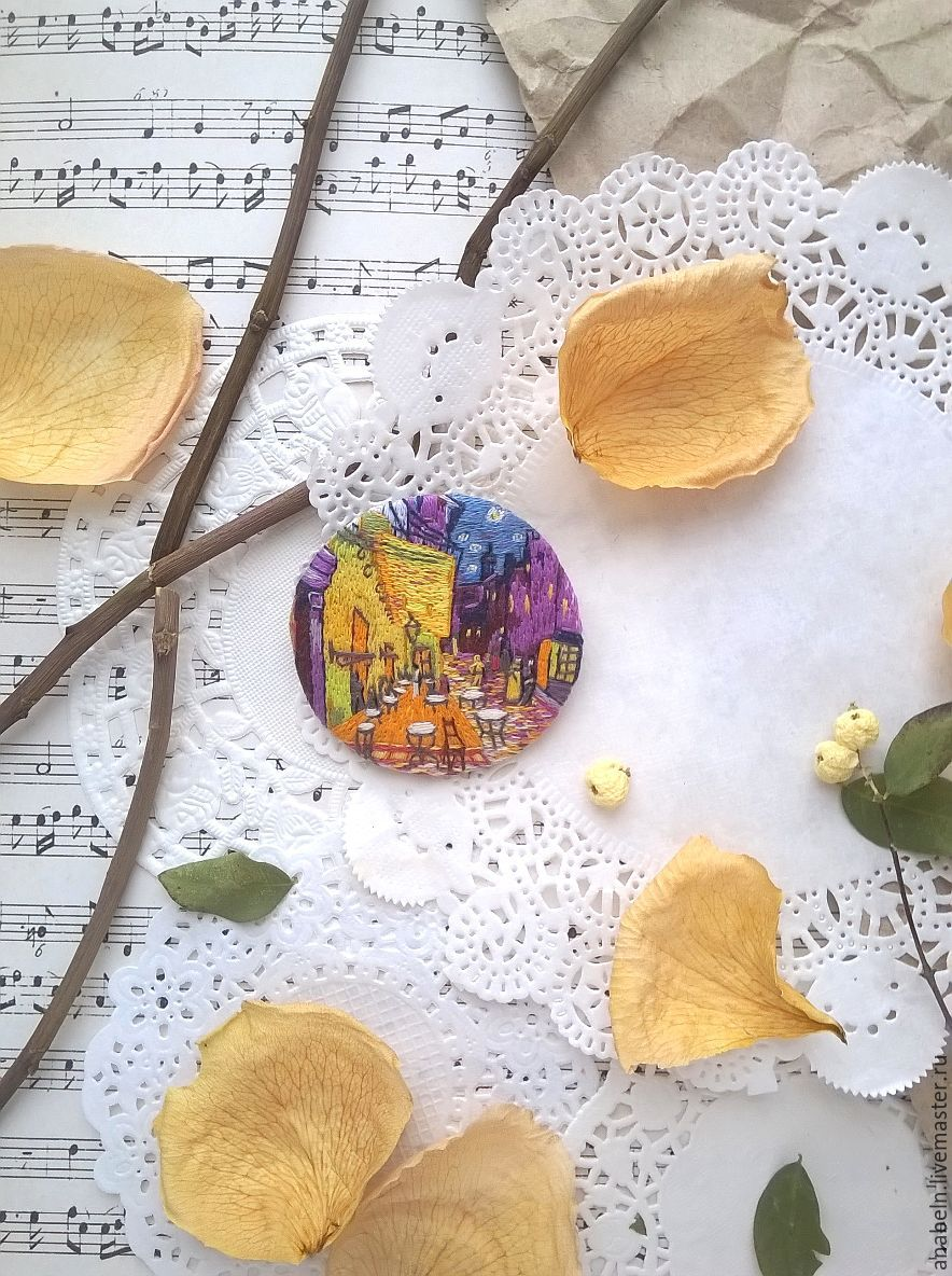 Buy Brooch Pendant Quot Cafe Terrace At Night Quot Based On The