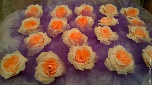 """Свадебные аксессуары ручной работы. Ярмарка Мастеров - ручная работа. Купить Украшение на машину """"Персиковые розы"""". (на присосках). Handmade."""