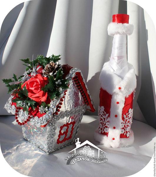 Подарочное оформление бутылок ручной работы. Ярмарка Мастеров - ручная работа. Купить Нарядное оформление стеклянной посуды (бутылка, ваза и т.д.). Handmade.