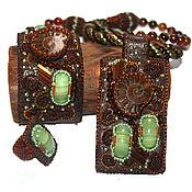 Комплект украшений (кулон, браслет, кольцо) - кожа, бисер, аммониты