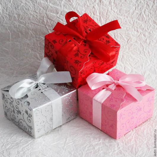 Упаковка ручной работы. Ярмарка Мастеров - ручная работа. Купить коробка сборная Блестящие узоры 3 цвета 9х9х5,5. Handmade.