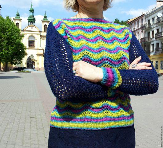 """Кофты и свитера ручной работы. Ярмарка Мастеров - ручная работа. Купить Пуловер  """"Pava"""". Handmade. Комбинированный, пуловер спицами, радужный"""