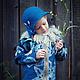 Одежда для девочек, ручной работы. Заказать Куртка Полупальто из войлока с воротником для девочки. AneleStudio. Ярмарка Мастеров. Сова, гжель, жемчуг