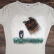 "Одежда handmade. Livemaster - original item T-shirt ""The hedgehog in a hog"" with an owl, hand-painted. Handmade."