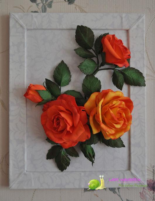 """Картины цветов ручной работы. Ярмарка Мастеров - ручная работа. Купить Картина для интерьера """"Плетистая роза"""". Handmade. Оранжевый"""