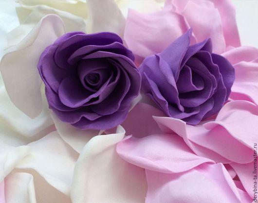 Заколки ручной работы. Ярмарка Мастеров - ручная работа. Купить Шпильки для волос - фиолетовые розы из фоамирана. Handmade. Фиолетовый