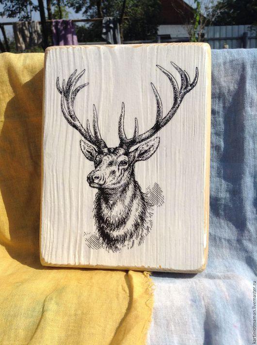 Животные ручной работы. Ярмарка Мастеров - ручная работа. Купить Гордый олень.. Handmade. Чёрно-белый, оленьи рога, декупа