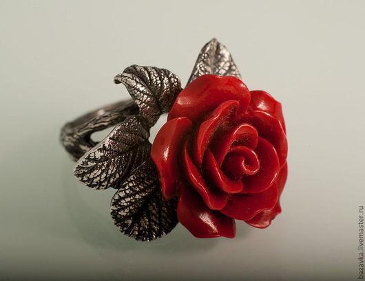 """Кольца ручной работы. Ярмарка Мастеров - ручная работа. Купить Серебряное кольцо """"Красная роза"""". Handmade. Кольцо с кораллом"""