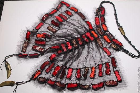 Воротнички ручной работы. Ярмарка Мастеров - ручная работа. Купить Жабо бабочка из натуральной кожи и органзы Handmade. Handmade. Комбинированный