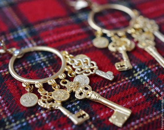 """Серьги ручной работы. Ярмарка Мастеров - ручная работа. Купить серьги """"Ключи от счастья"""". Handmade. Золотой, латунь"""