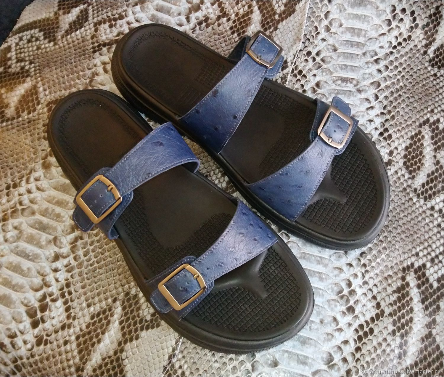 Men's flip - flops made of genuine ostrich leather, in stock!, Slippers, Tosno,  Фото №1