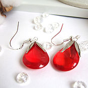 Украшения handmade. Livemaster - original item Earrings Silver Drops Rainbow Colored Glass Red Transparent. Handmade.