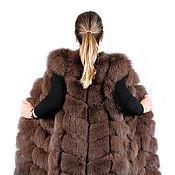 Одежда ручной работы. Ярмарка Мастеров - ручная работа Жилетка из песца 90 см цвет шоколад. Handmade.