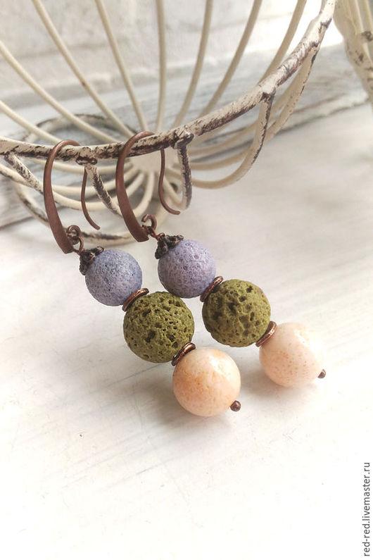 серьги длинные коралл натуральный лаванда персик лава оливки