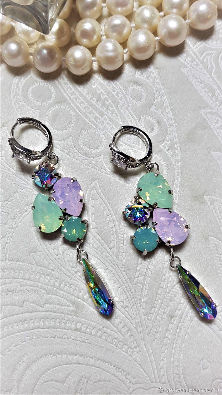 Asymmetry earrings for brides, Swarovski, rhodium, Earrings, Moscow,  Фото №1