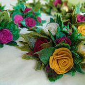 Цветы и флористика handmade. Livemaster - original item Flowers felted. Rose wool. Felted roses. Handmade.