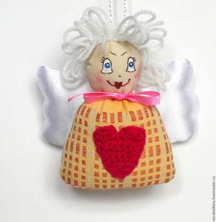 Куклы Тильды ручной работы. Ярмарка Мастеров - ручная работа. Купить Ангелок текстильный.Подвеска новогодняя. Handmade. Комбинированный