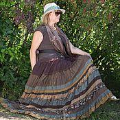 Одежда ручной работы. Ярмарка Мастеров - ручная работа Длинная многоярусная коричневая юбка в стиле бохо.. Handmade.