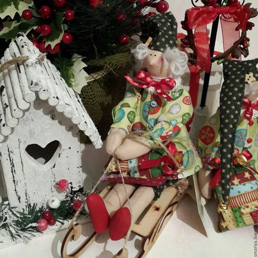 Куклы Тильды ручной работы. Ярмарка Мастеров - ручная работа. Купить Новогодний ангел в стиле Тильда. Handmade. Ангел-хранитель