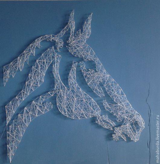 Животные ручной работы. Ярмарка Мастеров - ручная работа. Купить White horse. Handmade. Голубой, силуэт, панно на стену