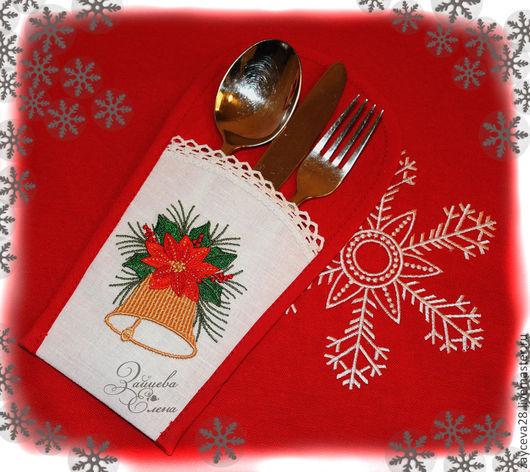Кармашек для столовых приборов - праздничное украшение новогоднего стола.