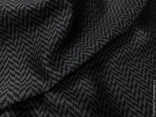 """Шитье ручной работы. Ярмарка Мастеров - ручная работа. Купить Костюмная шерсть в """"ёлочку"""". Handmade. Темно-серый, ткань в елочку"""