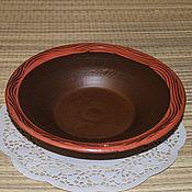 Посуда ручной работы. Ярмарка Мастеров - ручная работа Тарелка с красной каймой. Handmade.