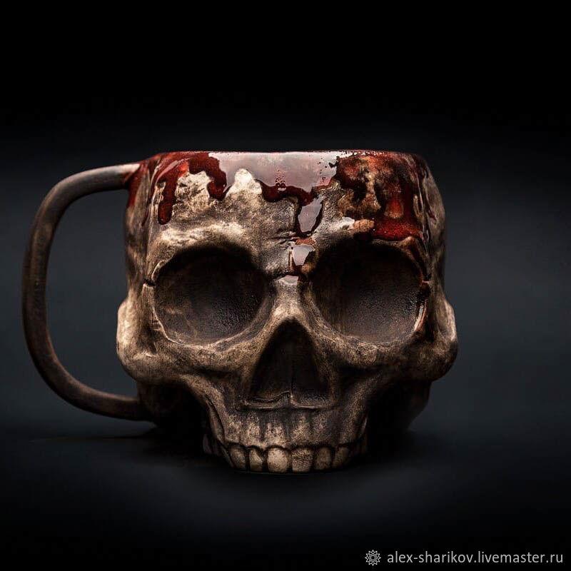Mug Skull in blood (Bloody Skull) Realistic mug for tea and coffee, Mugs and cups, St. Petersburg,  Фото №1
