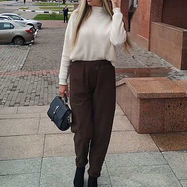 Одежда ручной работы. Ярмарка Мастеров - ручная работа Теплые брюки из шерсти и шелка коричневые. Handmade.