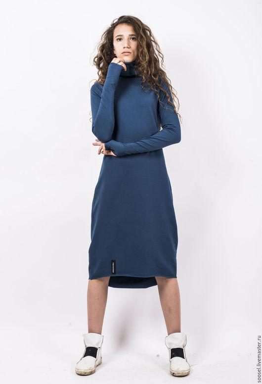 """Платья ручной работы. Ярмарка Мастеров - ручная работа. Купить Платье """"Simple"""" деним. Handmade. Тёмно-бирюзовый, теплое платье"""